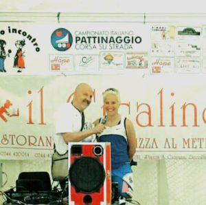 Pier Luigi Stentella con la campionessa mondiale Francesca Lollobrigida per i Campionati Nazionali di Pattinaggio