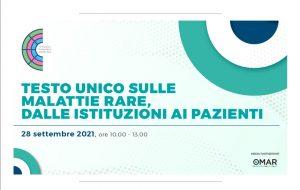 Evento online: Testo Unico sulle Malattie Rare, dalle istituzioni ai pazienti   28 settembre 2021 ore 10.00